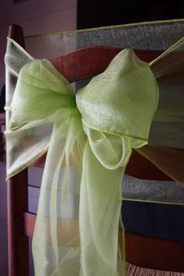 "10 Light Green Organza Chair Sashes 9"" Wide"