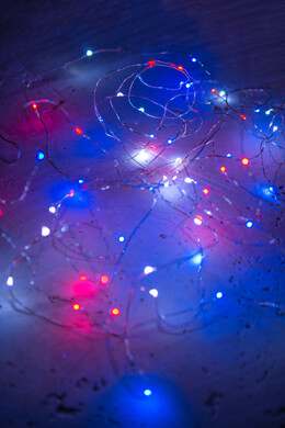 Micro LED String Lights Red White Blue Battery Op, Silver Wire, 20 Feet Outdoor