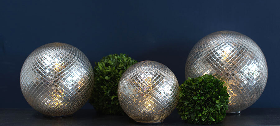 "LED Mercury Glass Sphere 10"""