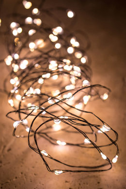 Moon Lights - 120 LED Soft White Lights 3-Way Timer - Black Plated Wire