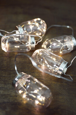 Mason Jar String Lights Battery Op., 10ct 11FT LED
