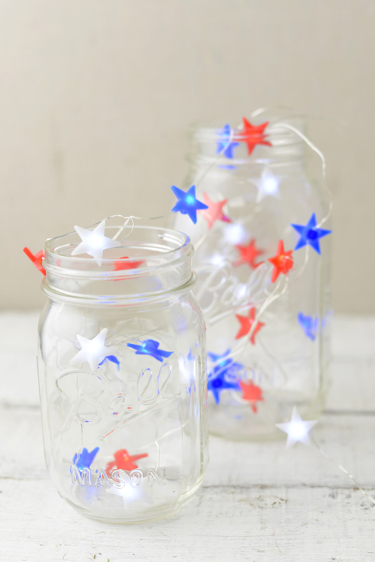 Mini Star String Lights : Everlasting Glow Red, White & Blue Star Shaped LED Mini String Lights , Battery Op, 30 LED, 9 Ft