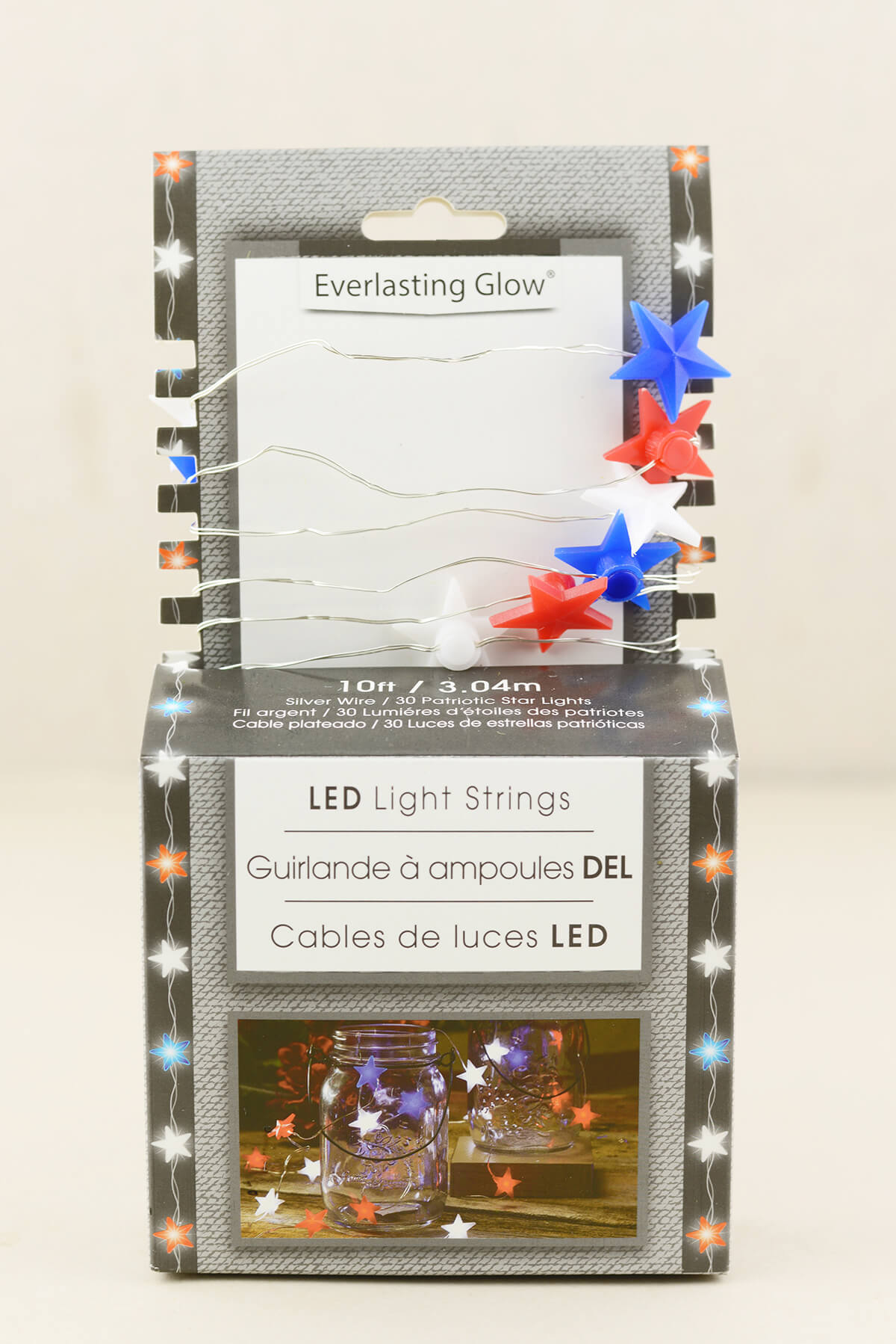 Glow Red White Blue Star Shaped LED Mini String Lights