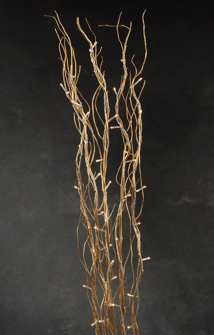 Lighted Natural Gold Willow Branches 39in