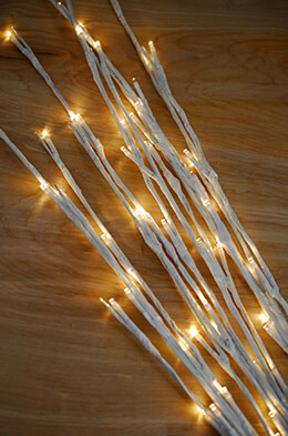 """White 27"""" Lighted Branches LED Battery Operated 20 Warm White"""