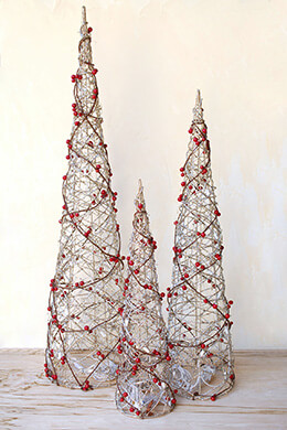 3 LED Lighted Cone & Berry Christmas Trees