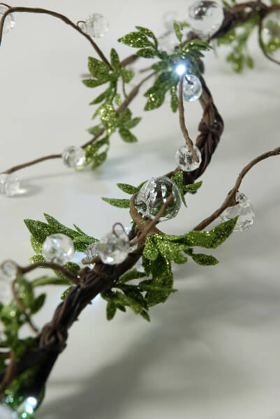 Crystal Beaded Led Vine String Lights With Leaves 72 Quot Plug In