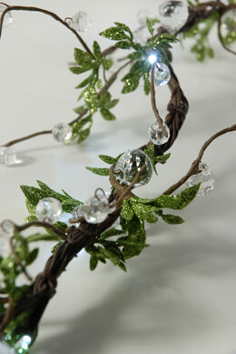 "Crystal Beaded LED Vine String Lights with Leaves 72"" Plug In"