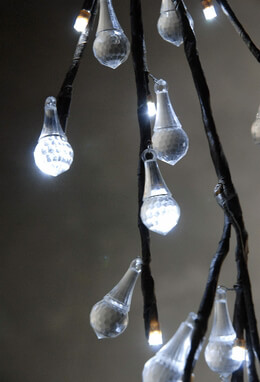Lighted LED Teardrop Crystal Willow Branch Lights