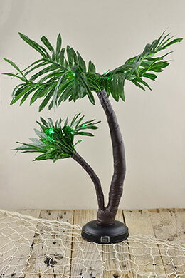 Gerson Everlasting Glow 92415014 Outdoor Twin Palm Tree with 25 Green LED Lights, 24""