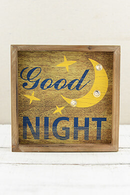 Lighted Wood Sign Good Night 8 x 8in