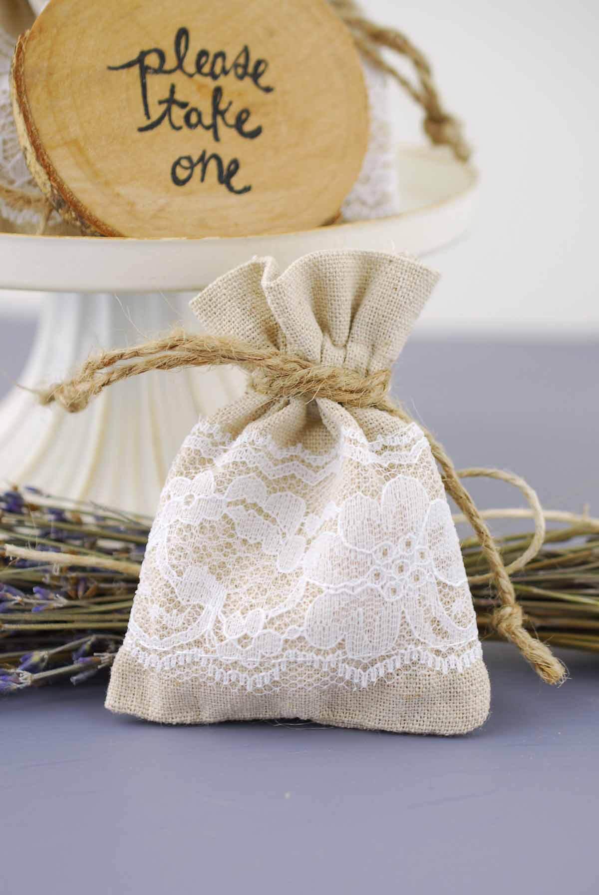 12 Linen & Lace 3x4 Favor Bags