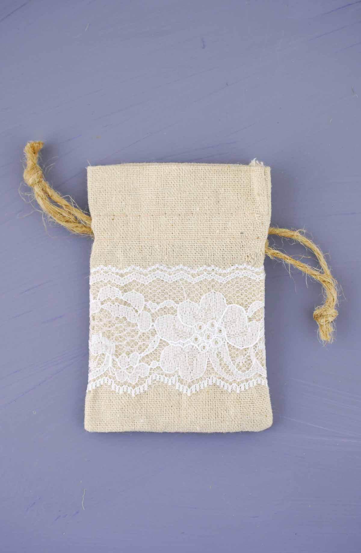 12 Linen Amp Lace 3x4 Favor Bags