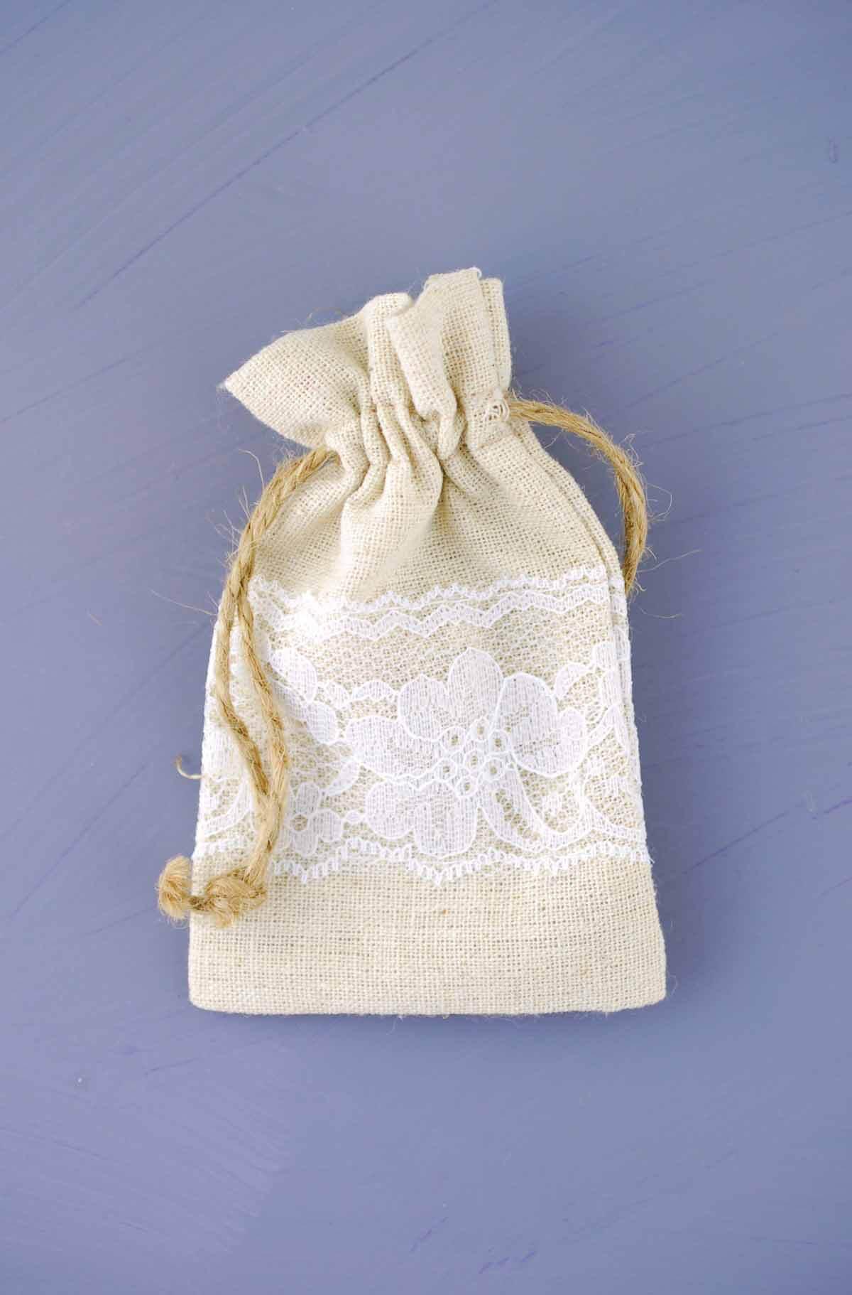 12 Linen & Lace 3x5 Wedding Favor Bags