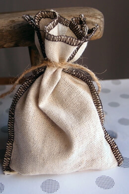 12 Natural Linen Bags with Brown Trim  5x7.5in (Pack of 12)