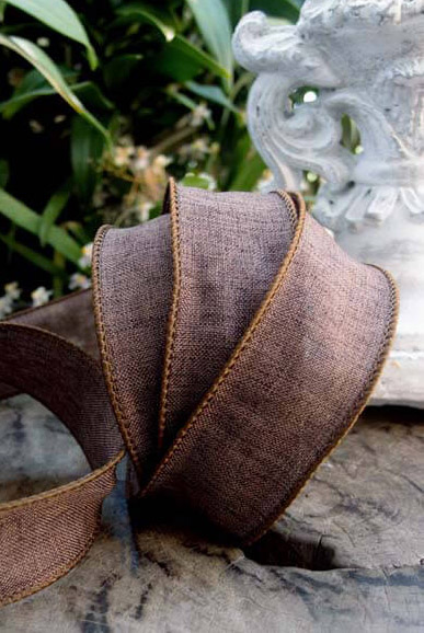 Brown Linen 1 5 Quot Wired Ribbon 10 Yds