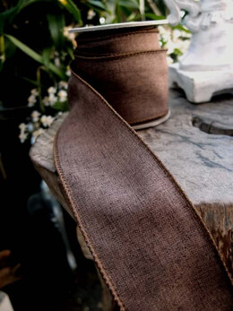 "Brown Linen 1.5"" Wired  Ribbon  10 yards"