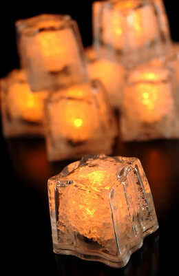 LED Submersible Ice Cubes Amber (Pack of 8) Safe for Beverages