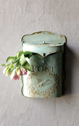 "Aqua Laurel Leaf Embossed Tin Letter ""Post"" Box"
