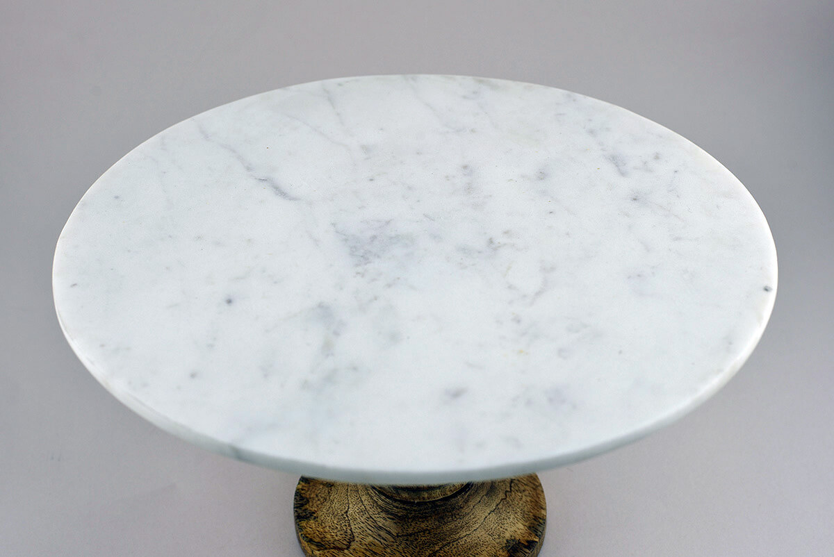 Lissa Marble Cake Stand White Marble Mango Wood 12 Inch