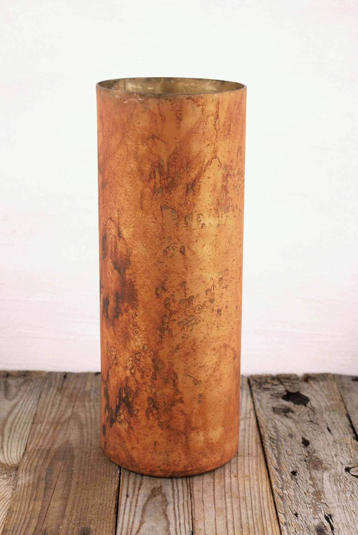 Marbled Cylinder Vase Copper 16 5in