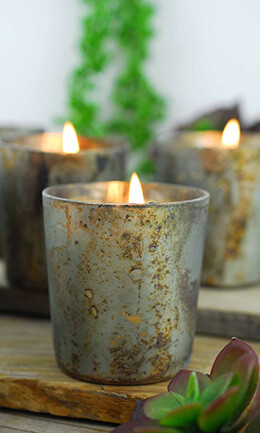 6 Sassi Gray Marbled Votive Holders 2.5""