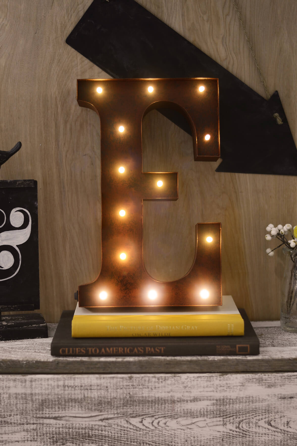 marquee letters e 12in battery operated 17 warm white led lights - Marquee Letter Lights