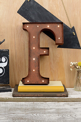 Marquee Letters F 12in Battery Operated 17 Warm White LED Lights
