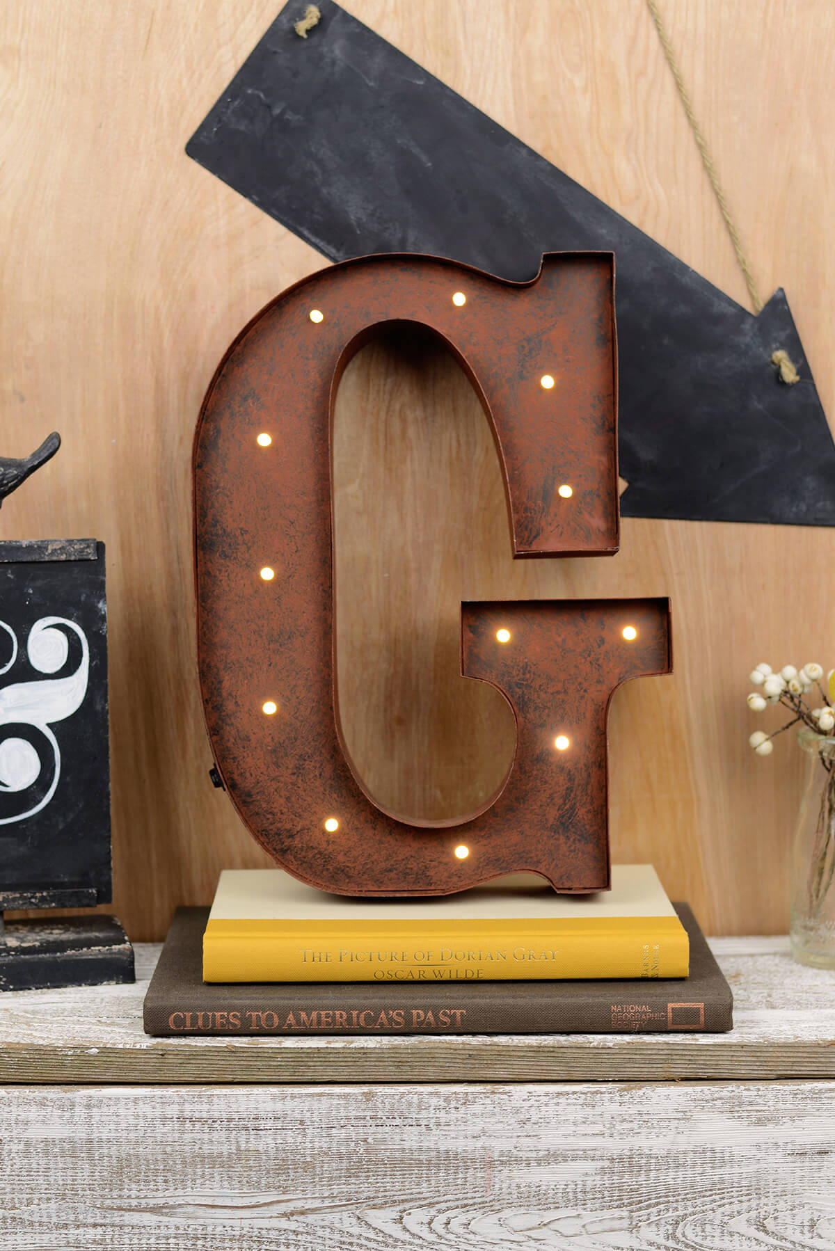 marquee letters g 12in battery operated 17 warm white led lights - Marquee Letter Lights