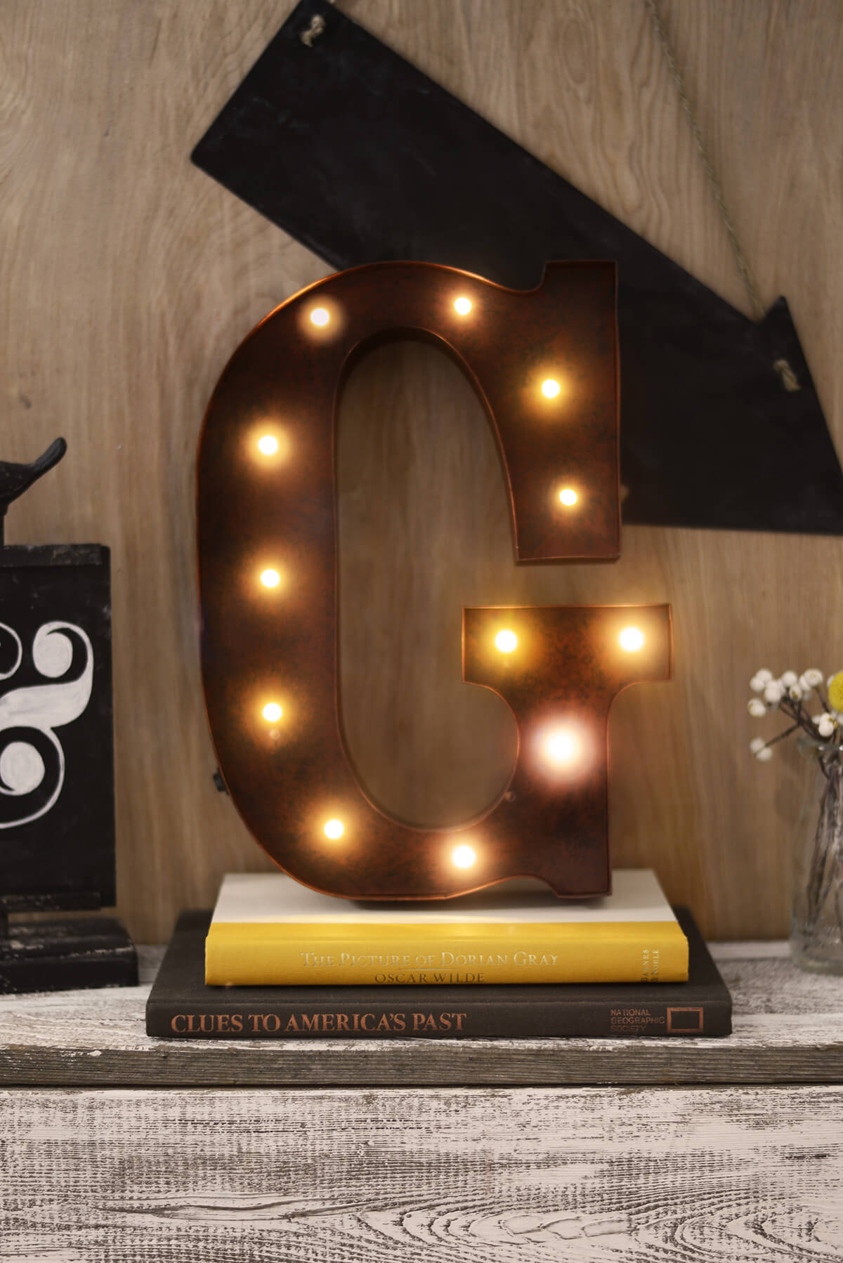 marquee letters g 12in battery operated 17 warm white led lights - Lighted Marquee Letters