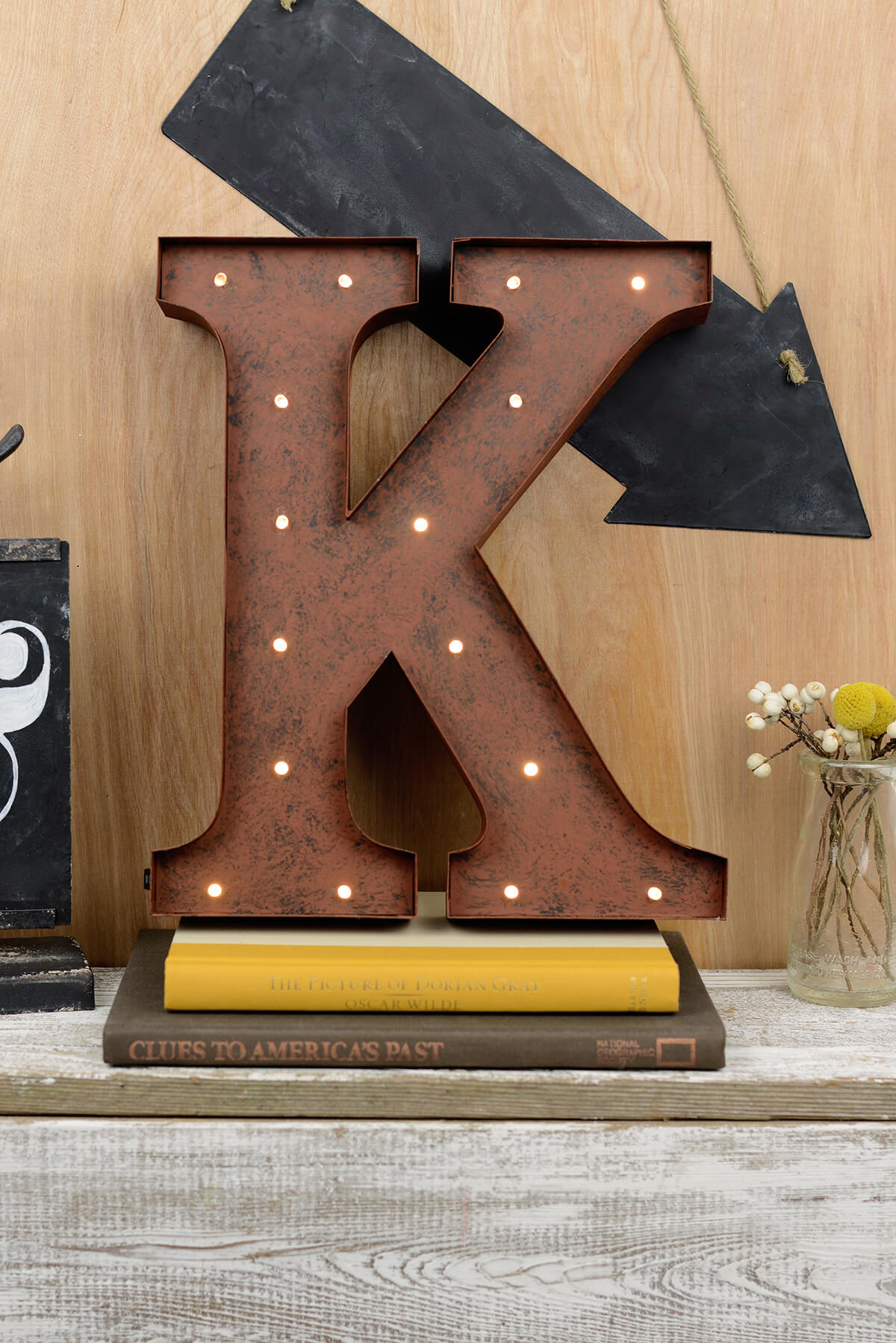 Lighted Metal Initials Letters K 12In Battery Operated 17 Warm White Led Lights