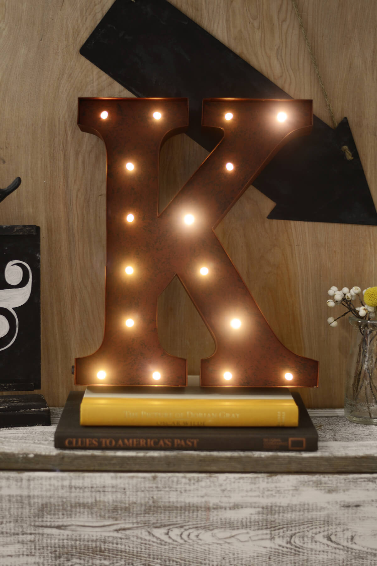 Marquee Letters K 12in Battery Operated 17 Warm White LED Lights