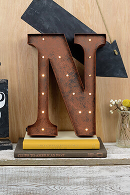 Marquee Letters N 12in Battery Operated 17 Warm White LED Lights