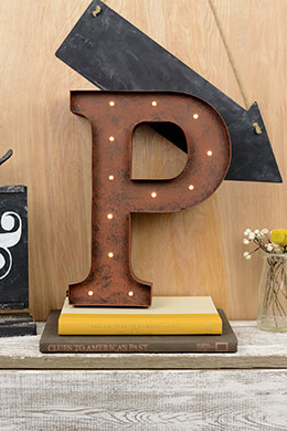 Marquee Letters P 12in Battery Operated 17 Warm White LED Lights