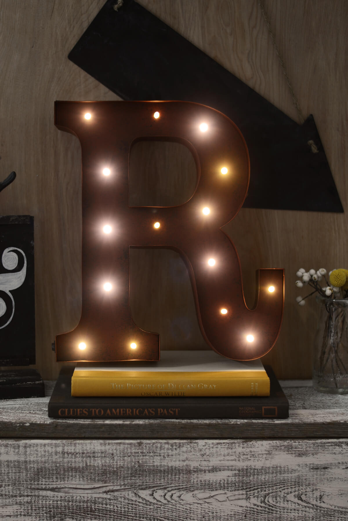 marquee letters r 12in battery operated 17 warm white led lights - Lighted Marquee Letters
