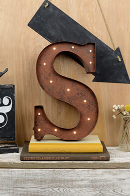 Marquee Letters S 12in Battery Operated 17 Warm White LED Lights