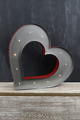 Marquee Metal Heart Sign 14in