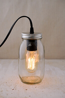 Gerson 6.5 Inch Electric Lighted Clear Mason Jar with Antique Light Bulb