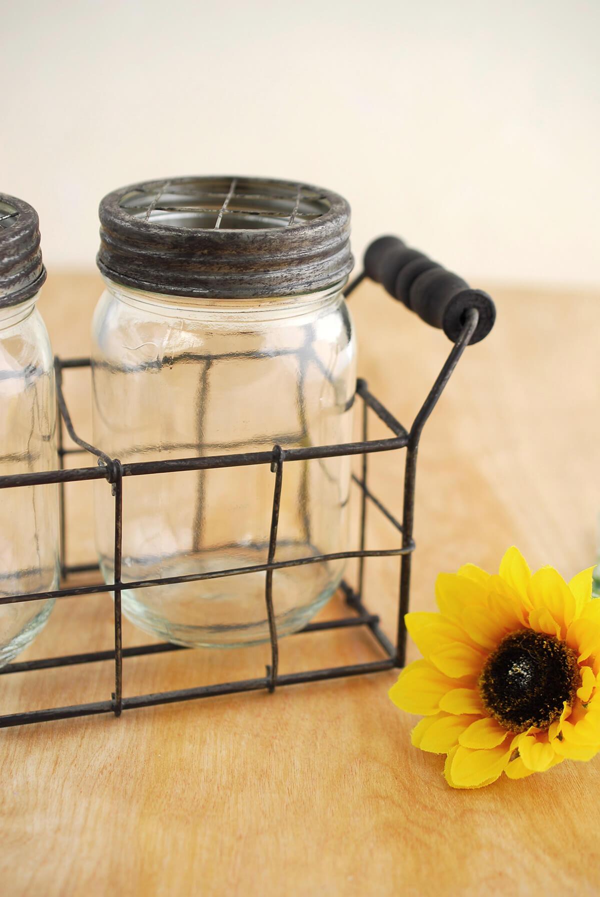 Mason Jar Vase With Frog Lid Set Of 2 Jars