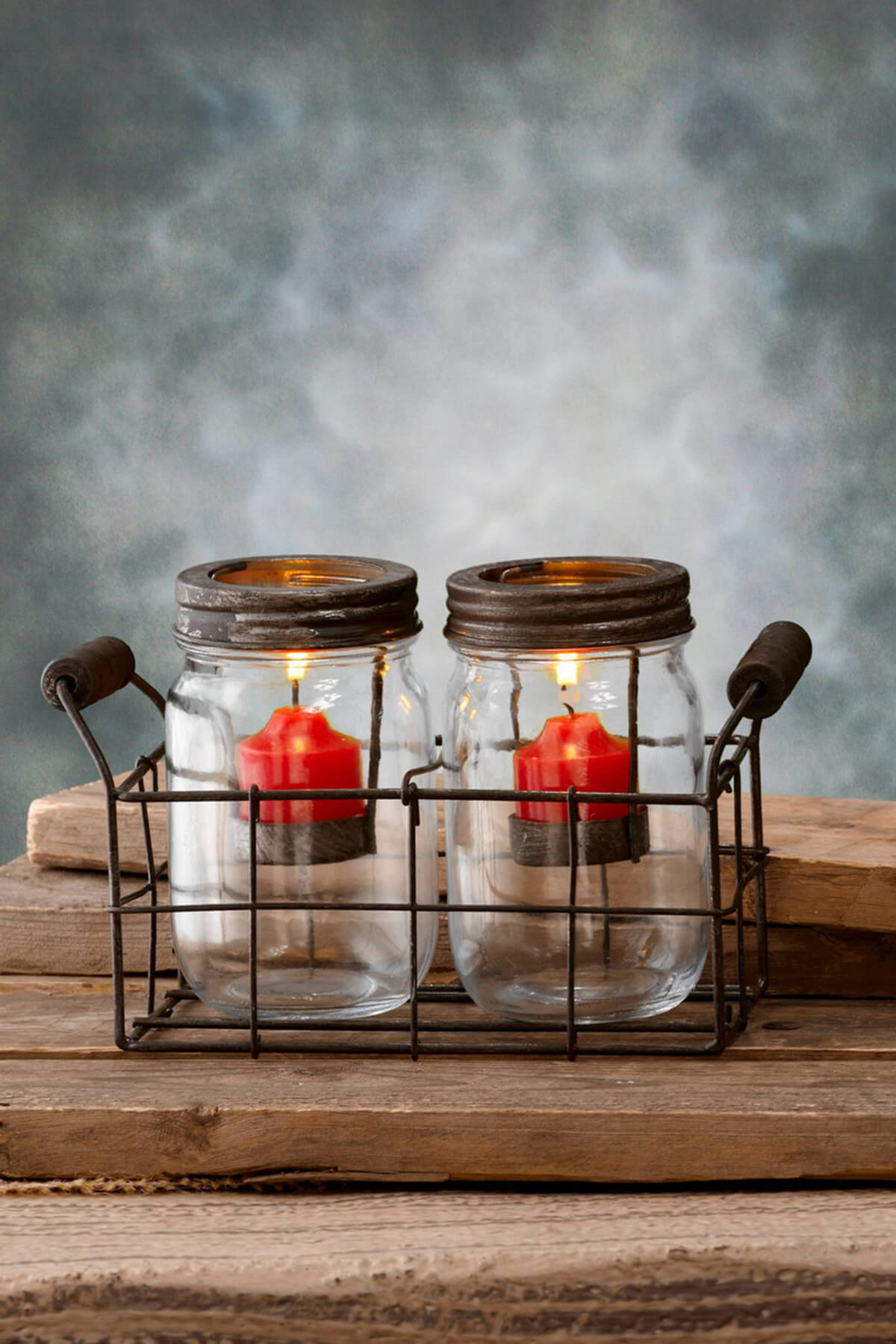 Mason Jar Tealight Holders Brown 5in Set Of 2 Jars