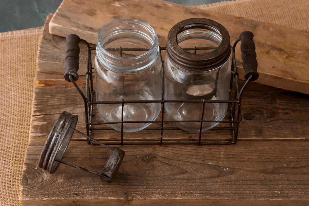 Mason Jar Tealight Holders Brown 5in Set Of 2 Jars