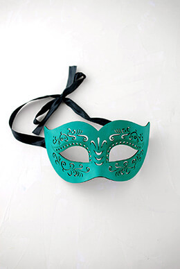 Mardi Gras Ladies Green Half Mask Masquerade