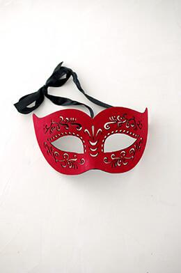 Suede Masquerade Half Mask Red