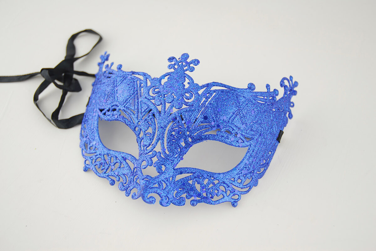 3 Glitter Masquerade Half Mask Royal Blue