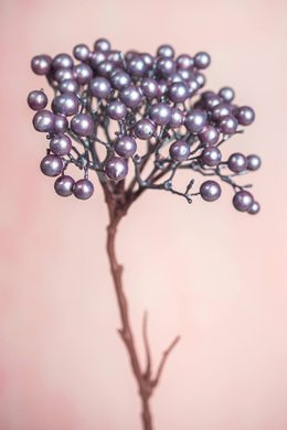 Metallic Mauve Berry Cluster Spray