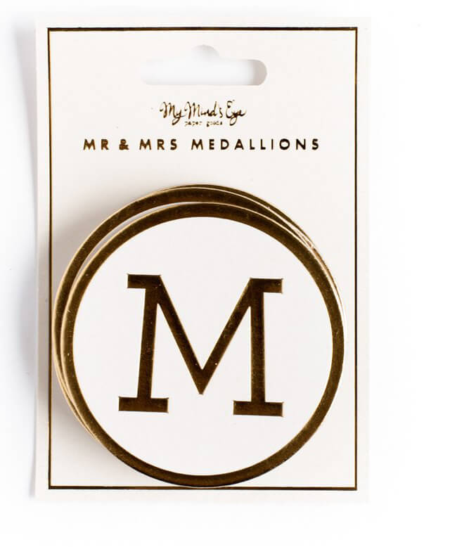 """Fancy Gold Foil Mr. & Mrs Medallions Round 2.5"""", Extra """"S"""""""