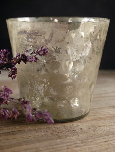 Mercury Glass Candleholder 4in