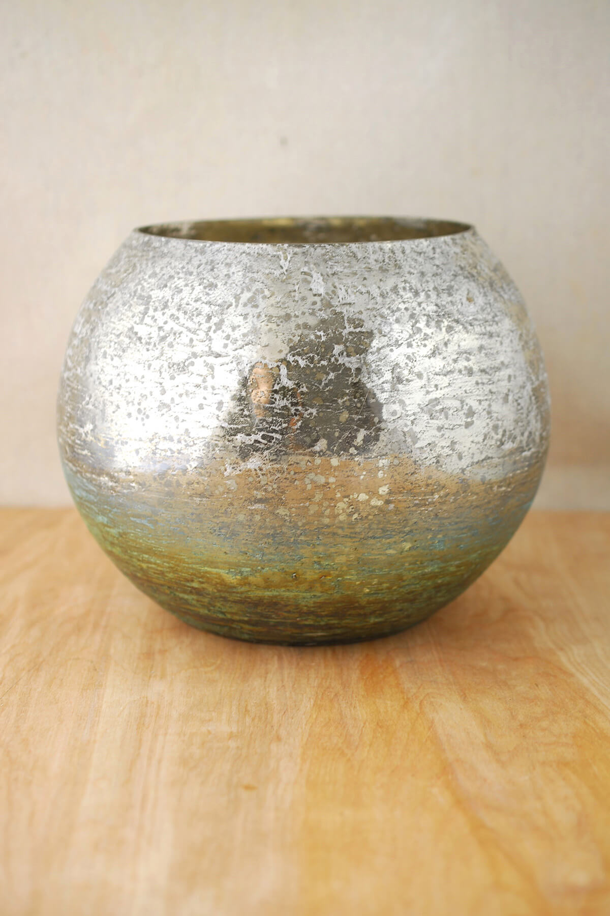 Mercury Glass Bubble Bowl Vase 7in