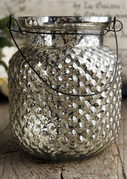 Hanging Mercury Glass Candle Holder Vase