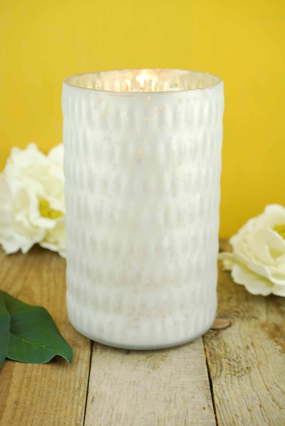 Mercury Glass Candle Holder White 7 5in